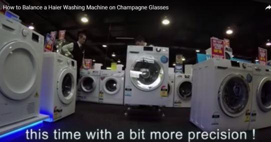 海尔洗衣机澳洲测试洗衣机:在4支香槟杯上洗衣服