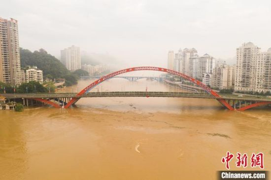 6月8日上午航拍的梧州洪水。 何华文 摄
