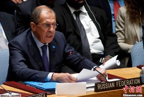 资料图:俄罗斯外交部长拉夫罗夫发表讲话。