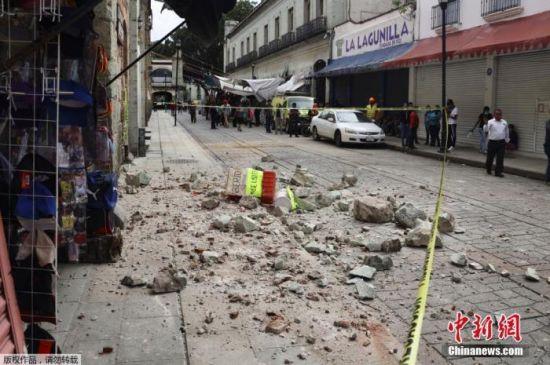 当地时间6月23日,在墨西哥瓦哈卡州,一处房屋在地震中受损。
