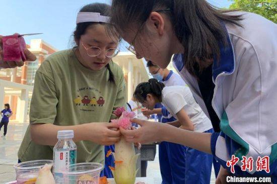 学生对雕刻好的萝卜花进行造型装饰。 李佩珊 摄