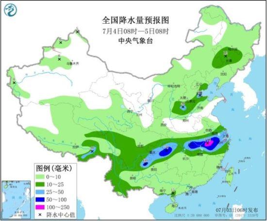 全国降水量预报图(7月4日08时-5日08时)