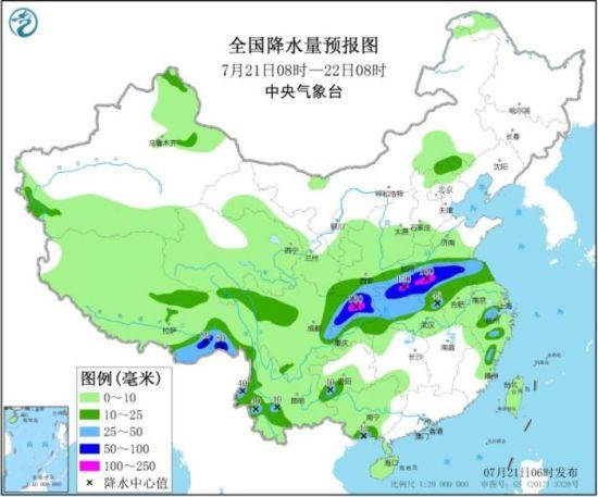 图2 全国降水量预报图(7月21日08时-22日08时)