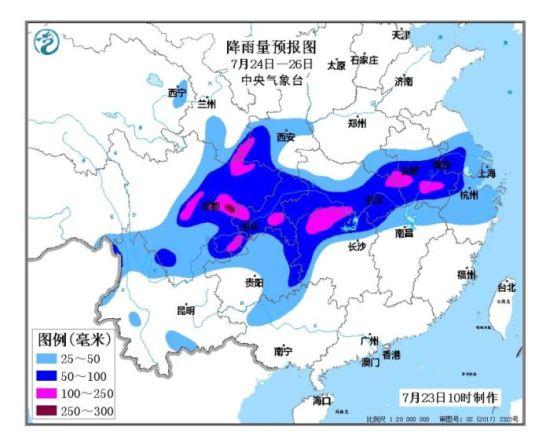 降雨量预报图(7月24日-26日)