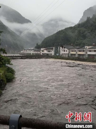 四川北川白什乡水位上涨。 李元霸 摄