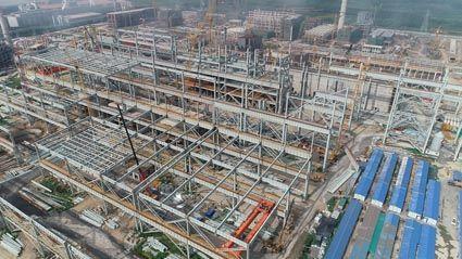 唐山瑞丰钢铁项目炼钢区域钢结构安装航拍图
