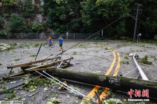 美国新泽西州,电线杆被风吹倒。