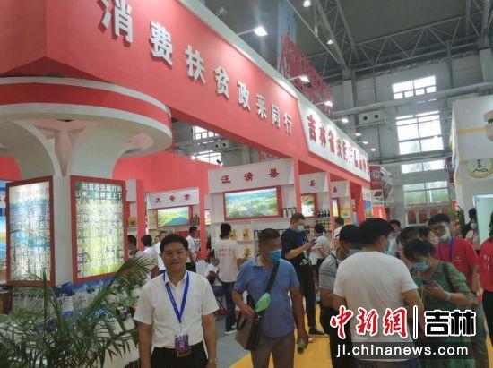 吉林省供销集团有限公司总经理张明生(左一)介绍消费扶贫情况 王海龙/摄