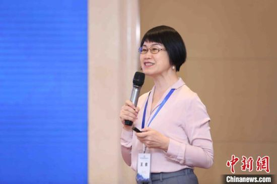 中国教育科学研究院国际比较教育研究所所长王素介绍疫情期间在线学习的东西部比较。中国教育三十人论坛供图