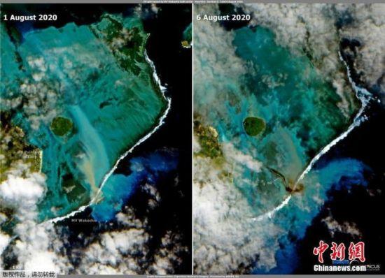 图为事发海域漏油前和漏油后的对比影像。