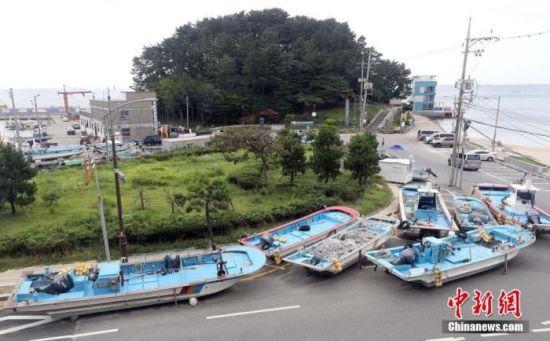 """当地时间8月31日,韩国釜山,台风""""美莎克""""来袭,渔船被撤离到路边。图片来源:人民视觉"""