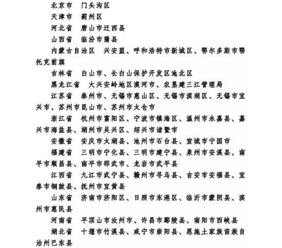 第四批国家生态文明建设示范市县名单
