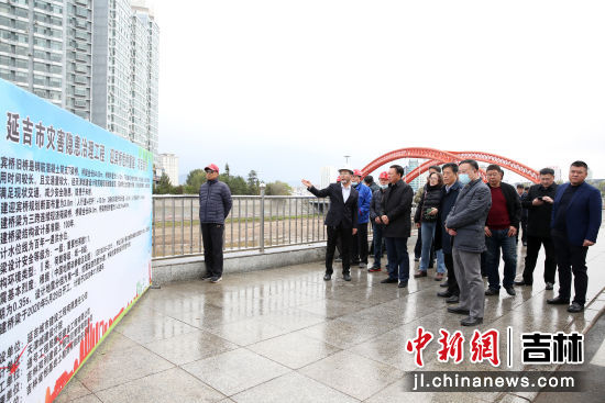 督查组在迎宾桥了解项目建设和进展情况 杨婷婷/供图
