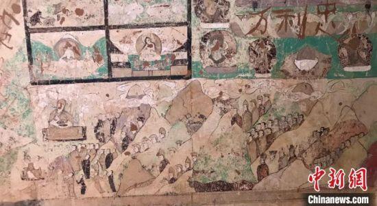 图为阿尔寨石窟中的壁画。内蒙古阿尔寨石窟研究院供图