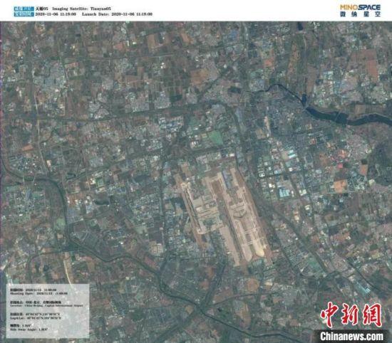 图为该卫星拍摄的中国?北京首都国际机场。中关村管委会供图