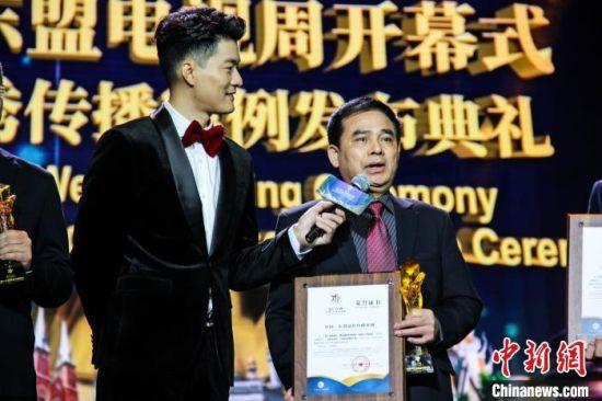 获得中国一东盟优秀传播案例最佳案例代表发表感言。 杨宗盛 摄