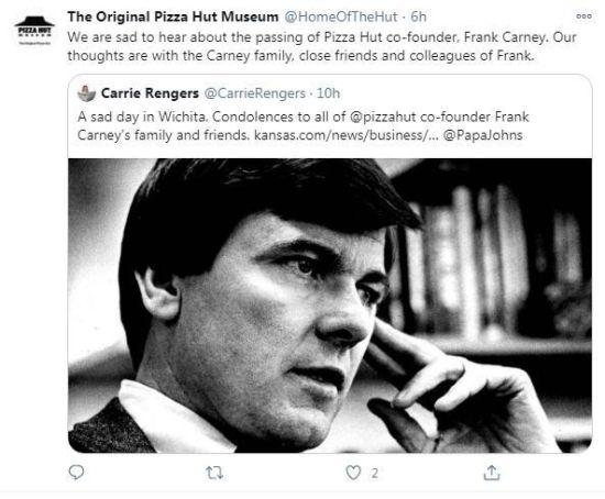 关于弗兰克・卡尼逝世的报道截图。图片来源:社交媒体账号截图。