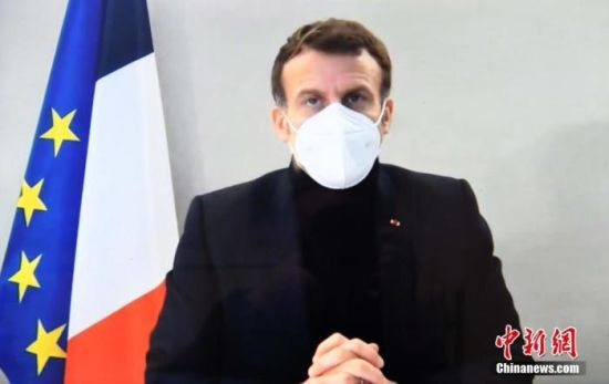 资料图:法国总统马克龙。<br/>记者 李洋 摄
