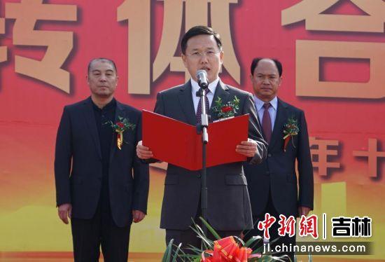 德惠市委副书记、代市长刘宏在合龙仪式致辞 德惠市委宣传部/供图